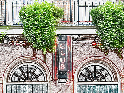 Digital Art - Neon Club Sign Bourbon Street Corner French Quarter New Orleans Colored Pencil Digital Art by Shawn O'Brien