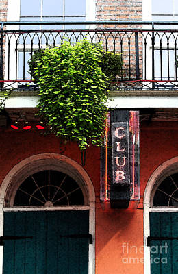 Digital Art - Neon Club Sign Bourbon Street Corner French Quarter New Orleans Fresco Digital Art by Shawn O'Brien