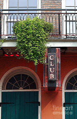 Digital Art - Neon Club Sign Bourbon Street Corner French Quarter New Orleans Poster Edges Digital Art by Shawn O'Brien