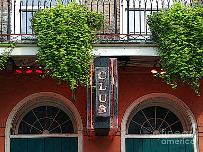 Digital Art - Neon Club Sign Bourbon Street Corner French Quarter New Orleans Poster Edges Digital by Shawn O'Brien