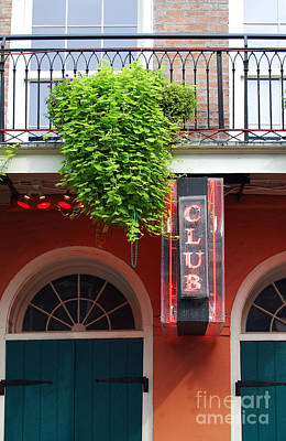 Photograph - Neon Club Sign Bourbon Street Corner French Quarter New Orleans  by Shawn O'Brien