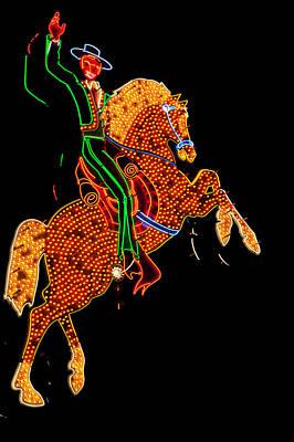 Neon Cowboy Las Vegas Art Print by Garry Gay