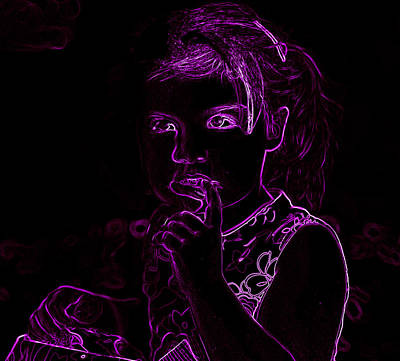 Photograph - Neon Girl Getting Into Trouble by Sheila Kay McIntyre