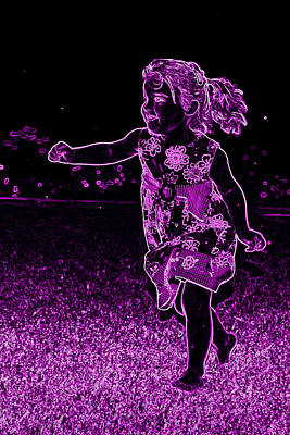 Photograph - Neon Girl Running In The Meadow by Sheila Kay McIntyre