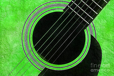 Music Photograph - Neon Green Guitar by Andee Design
