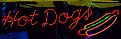 Photograph - Neon Hot Dogs by Bill Owen