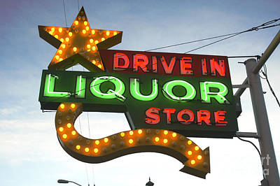 1940-1980 Retro-styled Imagery Photograph - Neon Liquor Sign by Frank Short