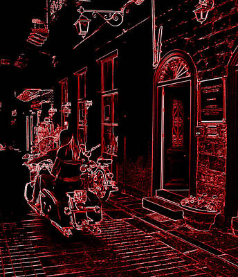 Photograph - Neon Look Sexy Girl Riding Motorcycle Bike Rider Speed Stone Paved Street In Nafplion Greece by John Shiron