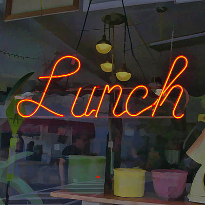 Photograph - Neon Lunch Sign by Michael Flood