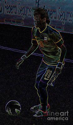 Neon Neymar Art Print by Lee Dos Santos