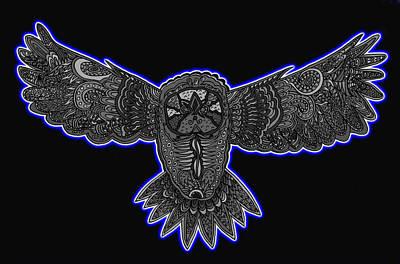Neon Owl Art Print