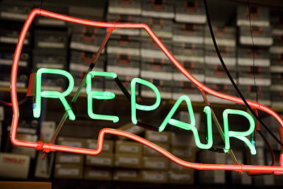 New York Signs Photograph - Neon Shoe Repair Sign by Frederick Bass