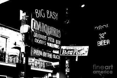 Neon Sign Bourbon Street Corner French Quarter New Orleans Black And White Conte Crayon Digital Art Art Print