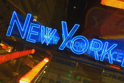 Neon Sign On A Police Station, New York City, New York State, Usa Print by Glowimages