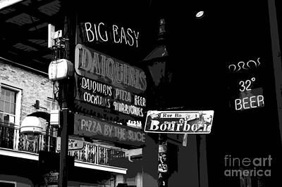 Digital Art - Neon Sign On Bourbon Street Corner French Quarter New Orleans Black And White Cutout Digital Art by Shawn O'Brien