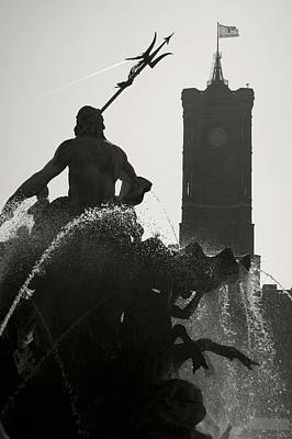 Oder  - Neptune Fountain And Rotes Rathaus Tower by RicardMN Photography
