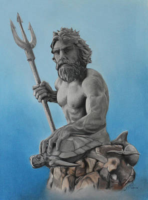 Drawing - Neptune by Miguel Rodriguez