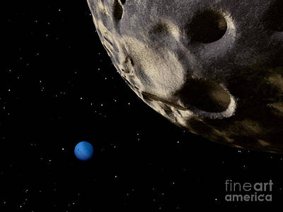 Naiad Digital Art - Neptune Seen From Its Tiny, Distant by Ron Miller