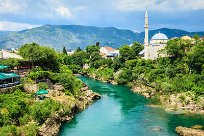 Mostar Photograph - Neretva River In Mostar by Kelly Cheng Travel Photography