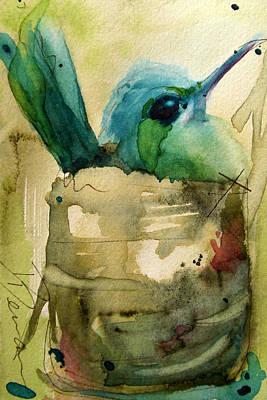 Hummingbird Painting - Nesting Hummingbird by Dawn Derman