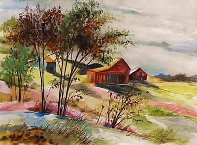 Nestled Nearby Barns Art Print by John Williams