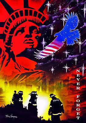 September 11 Painting - Never Forget by Tony Vegas