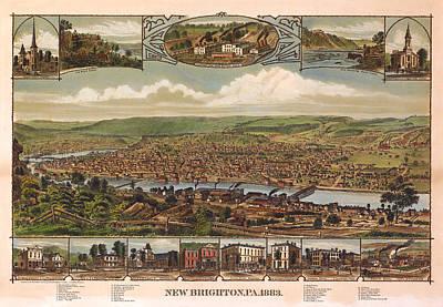 New Brighton Pennsylvania 1883 Art Print by Donna Leach