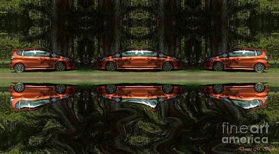 Photograph - New Car Reflection by Donna Brown
