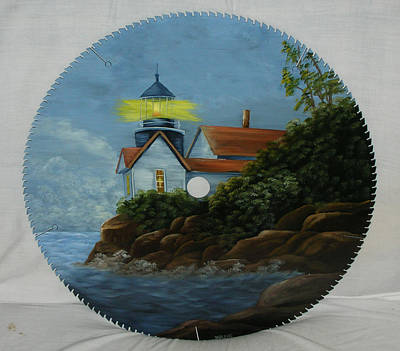 Saw Blades Painting - New England Light House  by Darlene Prowell