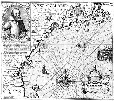 New England Map, 1616 Art Print by Granger