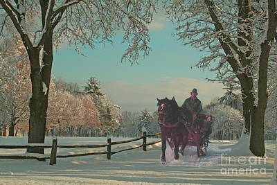 Horse And Sleigh Painting - New England Sleighride by Earl Jackson
