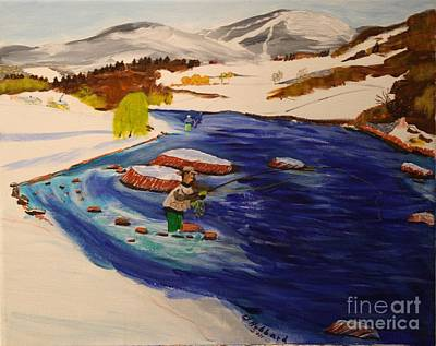 Painting - New Hampshire Springtime - Skiing And Trout Fishing In The White Mountains by Bill Hubbard