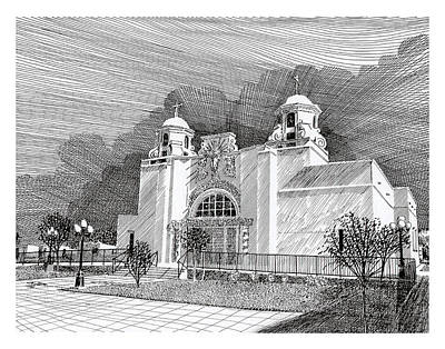 Drawing - New Mexico Churches Our Lady Of Good Health by Jack Pumphrey