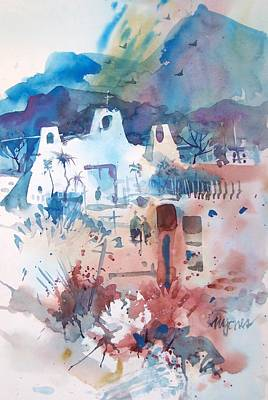 Spanish Mission Church Painting - New Mexico Mission by Micheal Jones
