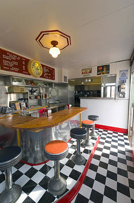 Old Diner Bar Stools Photograph - New Mexico, Route 66, Edgewood, Redtop Diner by Alan Copson