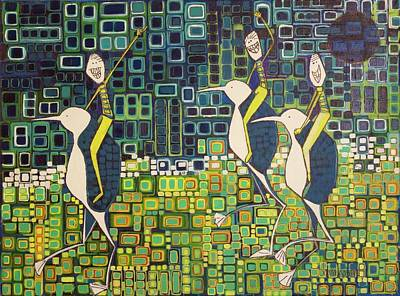Print featuring the painting New Moon Penguin Races by Donna Howard