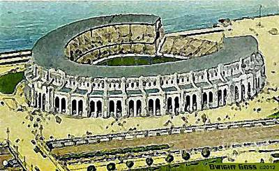 Painting - New Municipal Stadium In Cleveland Oh In 1930 by Dwight Goss