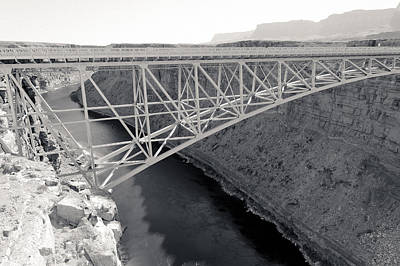 Photograph - New Navajo Bridge Bw by Julie Niemela