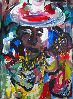 Jazzy Painting - New Orleans Jazz Guitar Player by Alexandra Jordankova