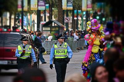 Print featuring the photograph New Orleans Police At Mardi Gras by Jim Albritton