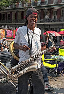 New Orleans Sax Player Art Print by Kathleen K Parker