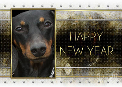 New Year - Golden Elegance Dachshund Art Print by Renae Laughner