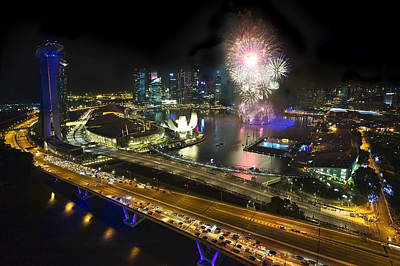 Fireworks Photograph - New Year Fireworks by Ng Hock How