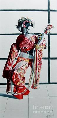 Traditional Still Life Painting - New Year Geisha by Gilee Barton