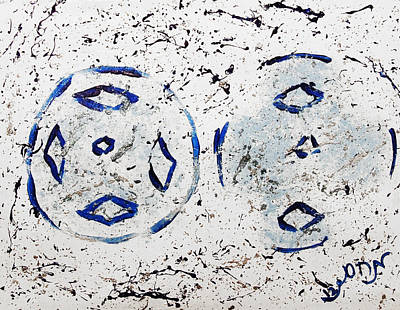 Art Print featuring the painting New Year Rolls Around With Abstracted Splatters In Blue Silver White Representing Snow Excitement by M Zimmerman