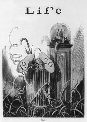 New Years Cartoon Related To The 1929 Print by Everett