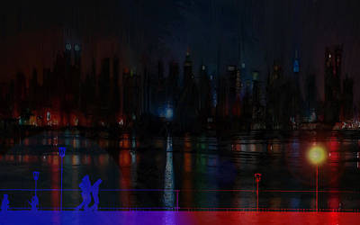 Flare Painting - New York Bridges by Steve K