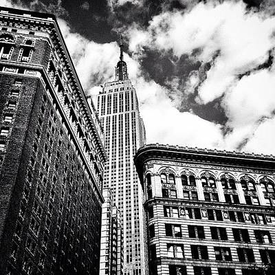 New York City - Empire State Building And Clouds Art Print