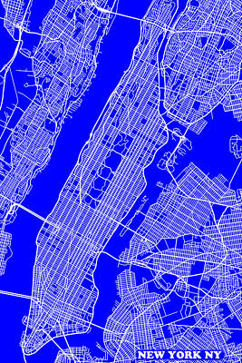 New York City Map Streets Art Print   Art Print by Keith Webber Jr