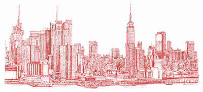 New York City Red Ink Art Print by Building  Art